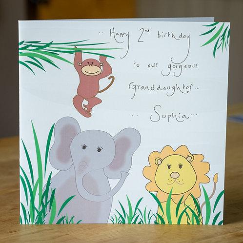Jungle Elephant Lion and Monkey Design Large Square Personalised Card