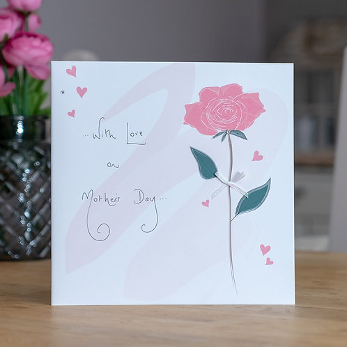 Red Rose Design Large Square Mother's Day Card