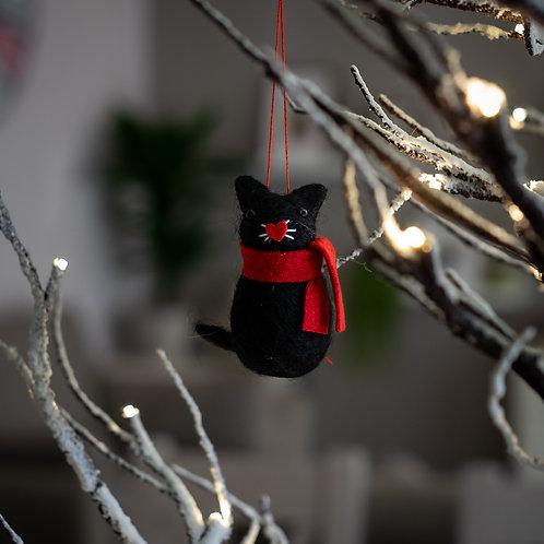 Black Cat Hanging Christmas Decoration