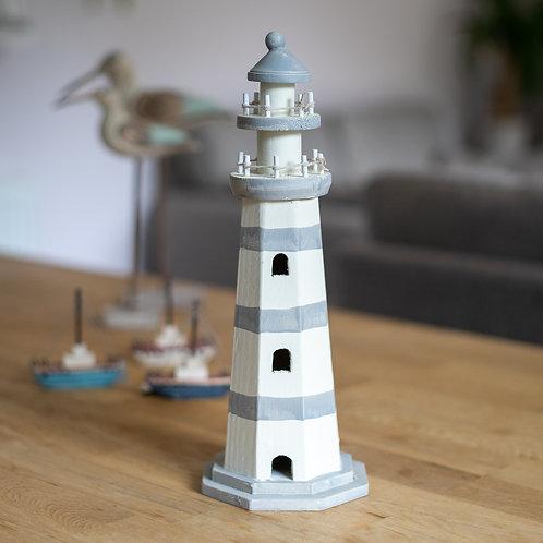 Distressed Wood Grey Stripe Lighthouse