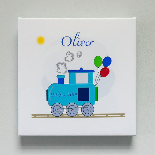 Train and Balloons Personalised Canvas