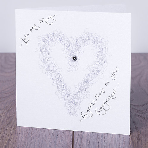 Sparkly Silver Swirly Heart