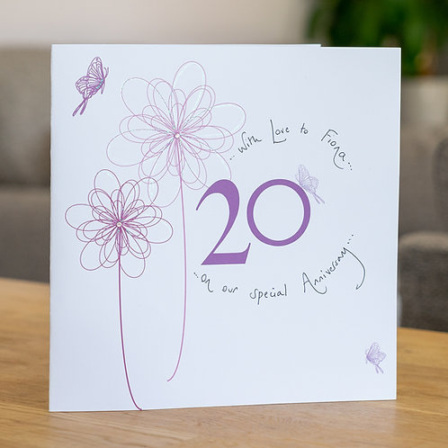 20th Anniversary Swirly Flower Design