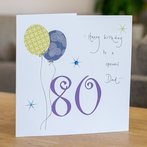 Birthday Balloon - Age 80 - Large Card