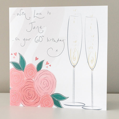Champagne Flutes and Pink Roses Design - Large Card