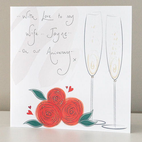 Champagne Flutes and Red Roses Design
