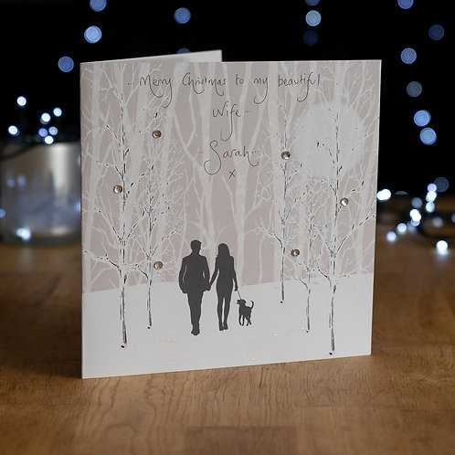 Couple Walking with Dog in Snowy Woods Design - Large Card