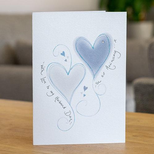 Blue Swirly Hearts Design
