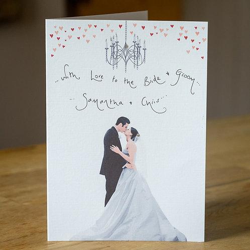 Bride and Groom Design Personalised Wedding Card