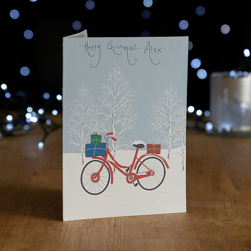 Bike Carrying Lots of Presents in the Snow Design