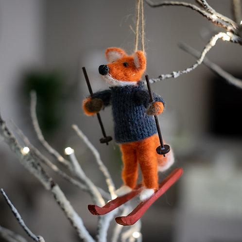Skiing Fox Hanging Christmas Decoration