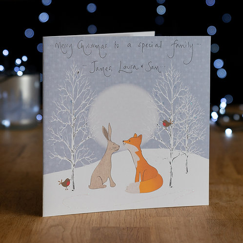 Hare and Fox Under the Moonlight Design - Large Card