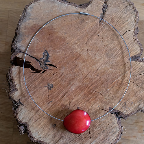 Chunky Eco Seed Wire Necklace - Red