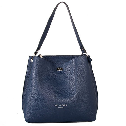 Navy Shoulder Bag with Clasp Fastener by Red Cuckoo London