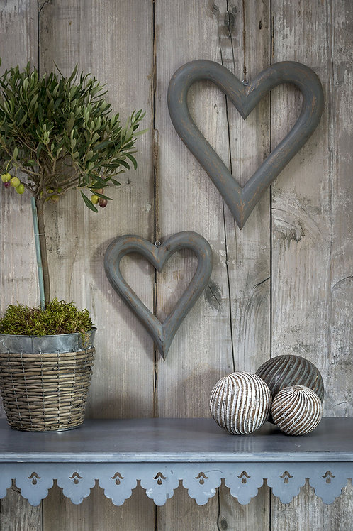 Chunky Grey Wooden Hanging Heart