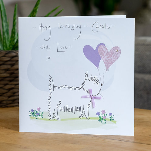Westie and Balloons Design - Large Card
