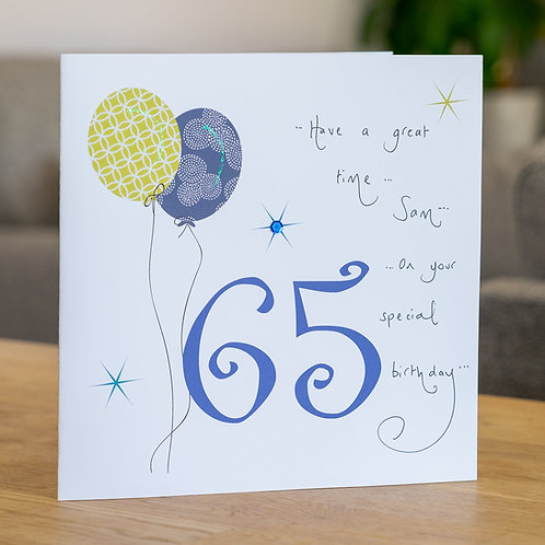 Birthday Balloon - Age 65 - Large Card