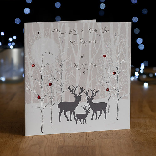 Deer Family in Snowy Woods Design