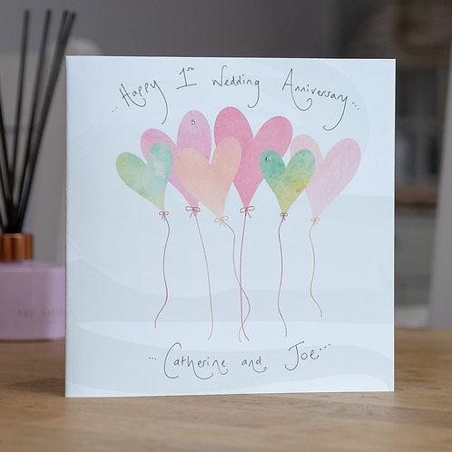 Watercolour Balloons Design Large Square Card