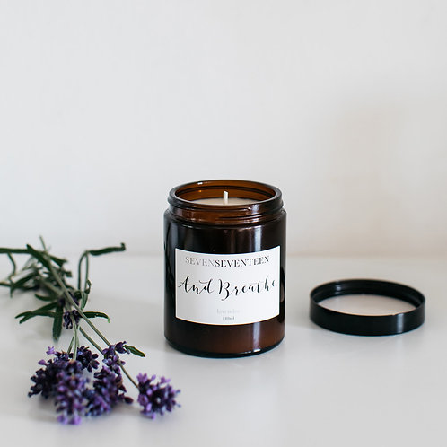 """""""And Breathe"""" Lavender Soy Candle"""