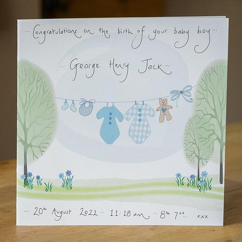 Blue Washing Line Design - Large Personalised Card
