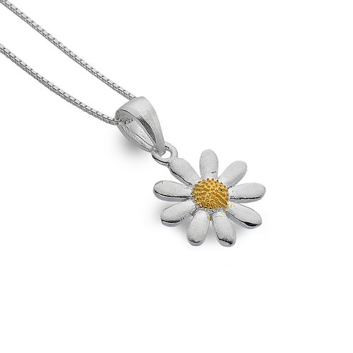 Sterling Silver Domed Centre Daisy Pendant