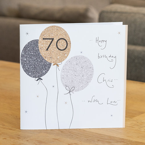Sparkle Balloons 70 Design - Large Square Card