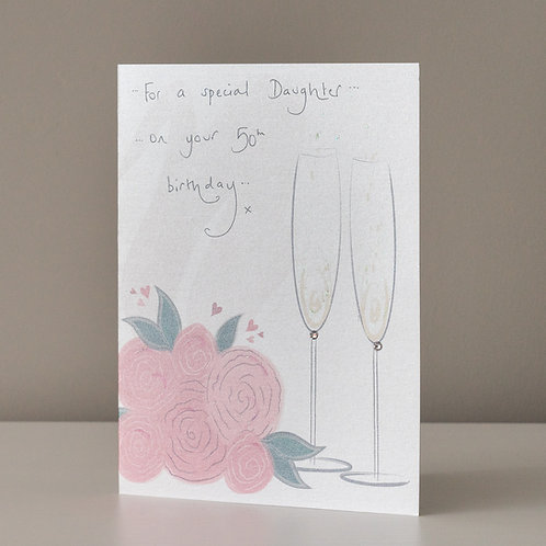 Champagne Flutes and Pink Roses Design
