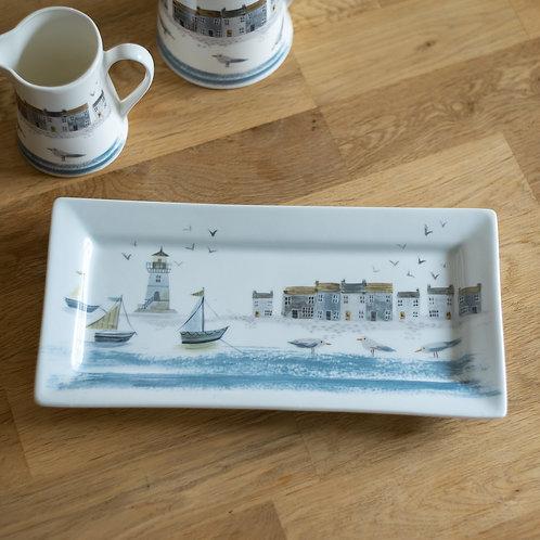 Coastal Scene Rectangular Ceramic Plate