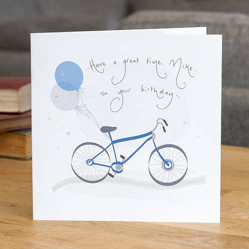 Blue Bike and Balloons Design - Large Square Card