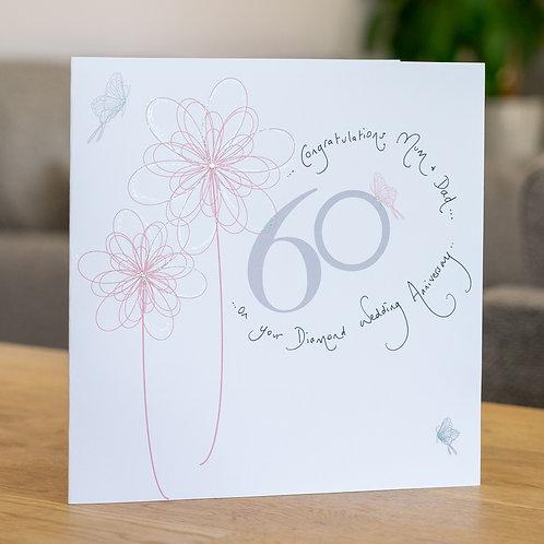 60th Anniversary Swirly Flower Design