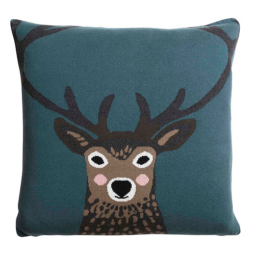 Highland Stag Knitted Cushion by Sophie Allport