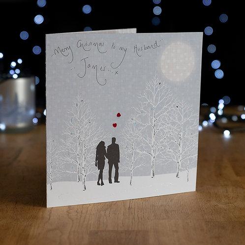 Couple Walking Under Moonlight in Snowy Woods Design