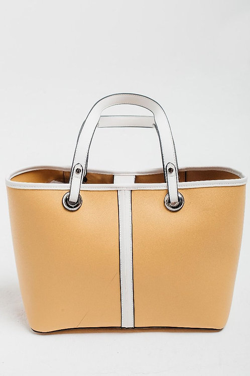 Yellow Shoulder Bag with White Straps and Detail by Red Cuckoo London