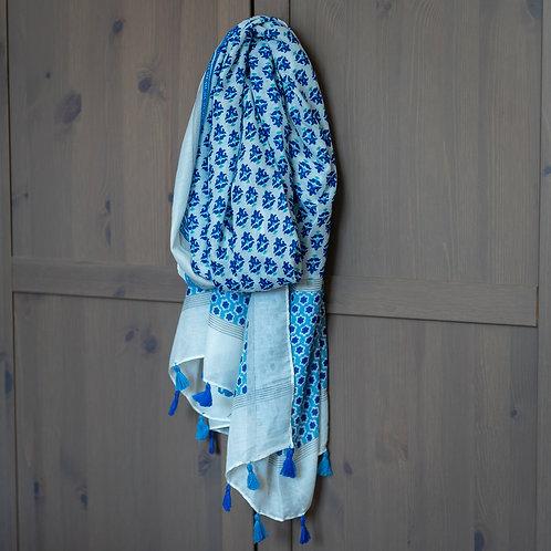 Tassel Detail Scarf - Blue