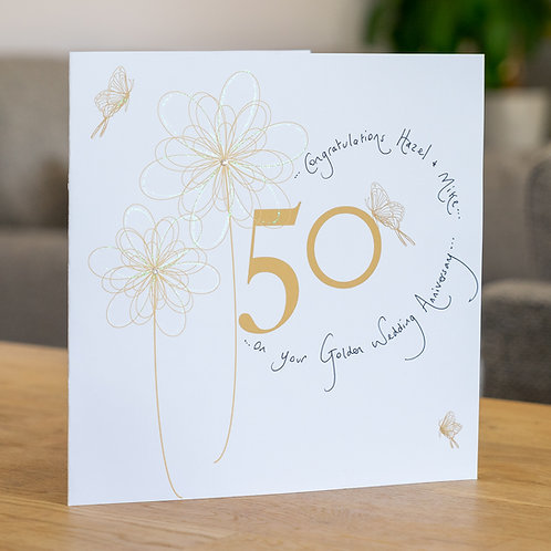 50th Anniversary Swirly Flower Design