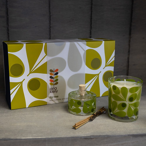 Orla Kiely Fig Tree Mini Candle & Diffuser Gift Set