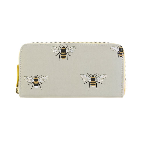 Bees Oilcloth Zipped Wallet Purse by Sophie Allport