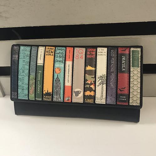 Bookworm Flap Over Leather Purse - Black