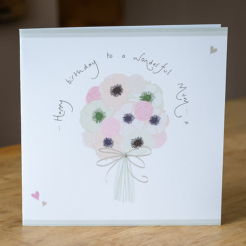 Anenomes Bouquet Design - Large Personalised Card