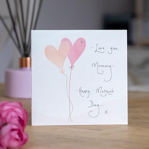 Watercolour Heart Balloons Design Mother's Day Card