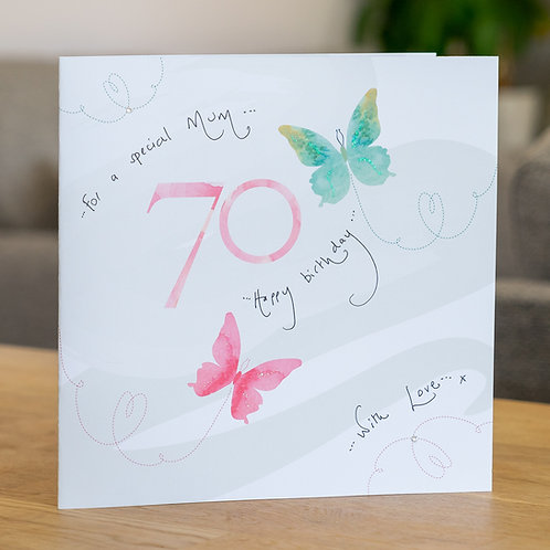 Watercolour Butterfies - Age 70 - Large Card