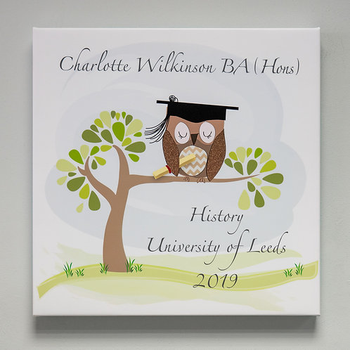 Graduation Owl Personalised Canvas