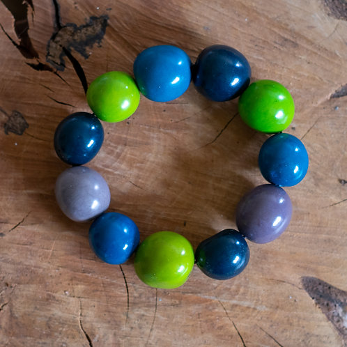 Chunky Eco Bead Bracelet - Blue, Green and Grey