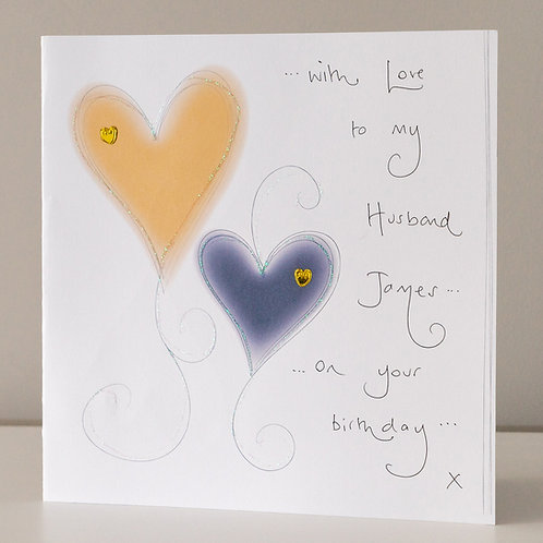 Glow Gold and Navy Blue Hearts