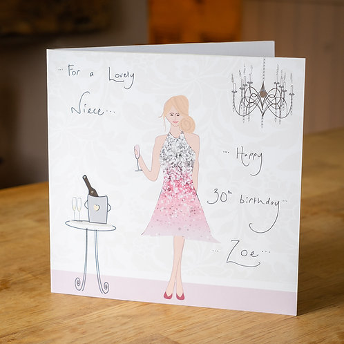 Cocktail Party Blonde Lady Design - Large Personalised Card