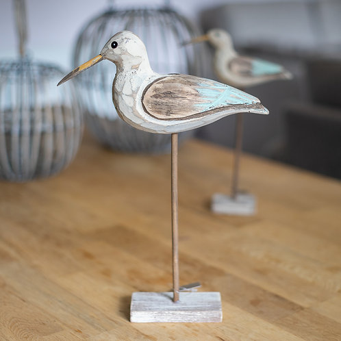 Carved Wooden Seagull On Plinth - Large