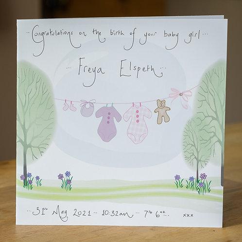 Pink Washing Line Design - Large Personalised Card