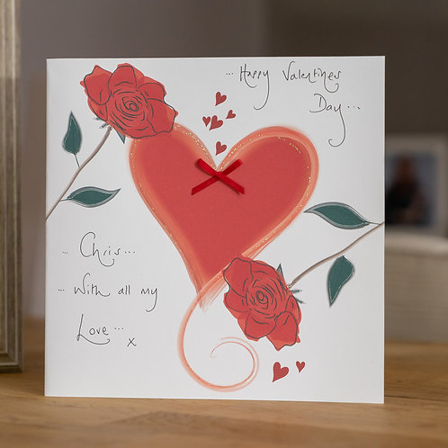 Red Heart and Roses Design Large Square Card