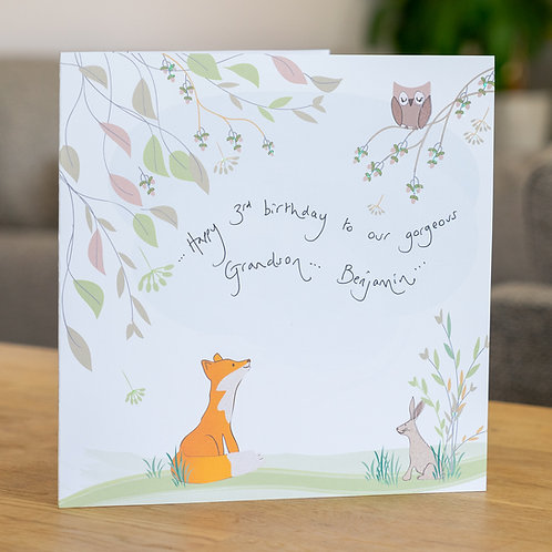 Fox, Owl and Rabbit Design Large Square Personalised Card